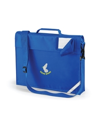 Royal Blue Embroidered Expanding Book Bag + Strap