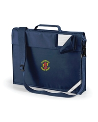 Navy Embroidered Expanding Book Bag + Strap