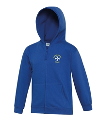 Royal Blue Embroidered Full Zip Hoodie