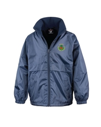 Navy Embroidered Fleece Lined Jacket